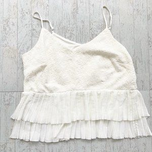 City Chic Embroidered Strappy Top Pleated Hem Sz